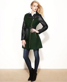 GUESS Coat, Asymmetrical Mixed-Media Faux-Leather Belted - Coats - Women - Macy's