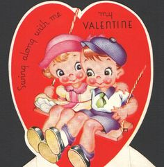 """Vintage Valentines Card """"SWING Along With ME"""" Kids on Old Wood & Rope Swing"""