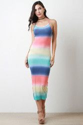 Pastel Stripe Dye Sleeveless Maxi Dress