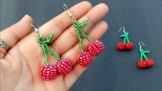 Beaded Earrings Patterns, Jewelry Patterns, Beading Patterns, Beaded Jewelry, How To Make Earrings, Diy Earrings, How To Make Beads, Cherry Earrings, Beads And Wire