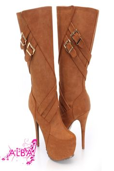 You will be head over heels for these saucy little numbers! They will perfectly compliment any outfit for any occasion! Make sure to add these to your collection, they definitely are a must have! The features for these boots include a faux suede upper with a strappy design, buckle accents, stitched detailing, side zipper closure, smooth lining, and cushioned footbed. Approximately 6 inch heels, 2 inch hidden platforms, 14 1/2 inch circumference, and 12 inch shaft.