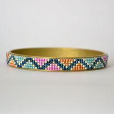 Beaded Bangle Bead Loom Bracelet Aqua and Orange by WishWantDesire