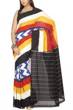 Black & Persian Blue Zigzag Multi-Colored Cotton Ikat Saree