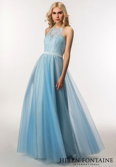 2017 Real A-line Blue Bridesmaid Dresses Long Halter Lace Top Tulle Skirt  Formal Boho Outdoor Wedding Party Gowns Custom Made 326dea057973