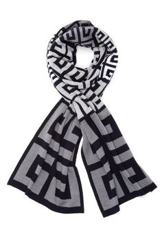 Givenchy Multi Size Logo Scarf in navy & grey gray wool