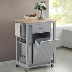 Vintage Kitchen Havenside Home Nixonton Traditional Grey Wood Kitchen Island - Keep all of your extra cooking supplies tucked away safely with this light gray kitchen cart from Porch Kitchen Island Cart, Kitchen Tops, Diy Kitchen, Small Kitchen Cart, Kitchen Ideas, Kitchen Decor, Studio Kitchen, Small Portable Kitchen Island, Kitchen Carts On Wheels