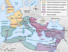 Devido a crise econômica e as constantes ameaças nas fronteiras, o Império Romano foi dividido em quatro áreas administrativas (293-313).  As tetrarcas não tiveram suas bases em Roma, mas em outras cidades mais próximas às fronteiras, principalmente para a defesa do império contra rivais externos (principalmente o Império Sassânida) e os bárbaros (principalmente germânicos, numa migração infindável desde as estepes do Oriente) no Reno e no Danúbio