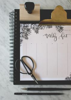 Weekly calendar printable with custom calligraphy and illustrations