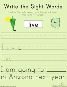 """Free printable first grade Worksheets: Write the Sight Words: """"Live"""" and many many more word for improving penmanship and reading sight words."""