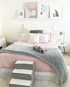 bedroom decor ideas for teens; Small and warm cozy bedroom ideas; Pink and grey bedroom;Minimalist home design. Cozy Teen Bedroom, Pink Bedroom Decor, Girls Bedroom, Bedroom Themes, Pastel Bedroom, Girl Rooms, Teen Bedrooms, Teen Bedroom Colors, Horse Themed Bedrooms