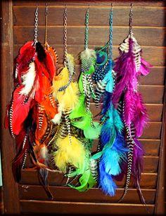 feather earrings; rainbow?