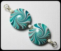 Ocean Waves... Handmade Polymer Clay Beads Set Turquoise Teal Aqua Silver Swirl Spiral Beach Ocean Earring Pair