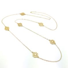 """Endless Beauty is a 40"""" Endless Gold Fill Chain With Filigree Separators Made of 18k Gold Over Silver. This Can be Worn Long or Doubled. Product #15-037"""