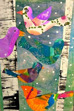 MaryMaking: Lois Ehlert Inspired Bird Collages based on Deep Space Sparkle lesson 2nd Grade Art, Winter Art Projects, Ecole Art, Art Lessons Elementary, Painted Paper, Art Lesson Plans, Art Classroom, Pics Art, Art Plastique