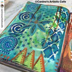 Wonderful new art journal page by @caninosartisticcafe with @natkalbach's Batik Stencil! #stencilgirl