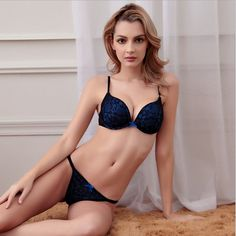 84cc8288ae T-Back Underpants Deep V Drawing Women Underwear Bra Set Push Up