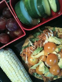1st day of school lunch...pastured chicken, raw cheese, avocado & tomatoes from the garden on sprouted corn tortilla ~ side of local corn, cucumbers & some grapes  - kids loved!