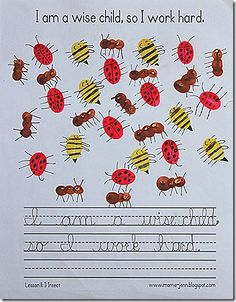 Insect craft - fingerprint ladybugs, ants, and bees - cute!