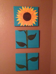 Sunflower 3 canvas painting I did! I did two of these for each side of my bed!