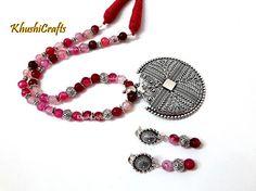 25a2ecd6c Pink Semiprecious Jewelry Set with Danglers-Handmade Indian Jewelry. Khushi  Handmade Jewellery-KhushiHandicrafts · german silver Necklace