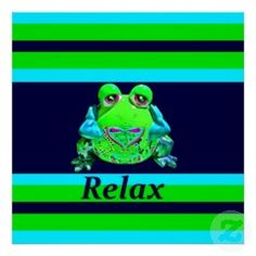 Funky Colorful Frog RELAX Teal Lime Navy Poster | Unique Posters