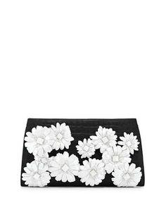 Nancy Gonzalez Slicer Flower-Applique Crocodile Clutch Bag, Black/White