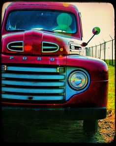 Red Ford Truck Vintage Truck Photo Wall Art Home by TraceyCapone, $30.00