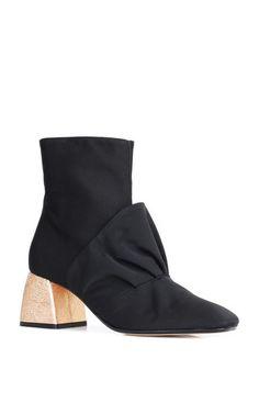 Italian grosgrain ankle booties ruffle detail, gold metallic block heel, made in Italy