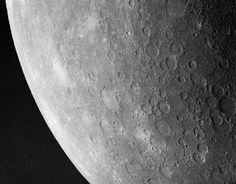 September 13, 1996:     Southwest Mercury  -    Credit: Mariner 10, NASA   -   Explanation: The planet Mercury resembles a moon. Mercury's old surface is heavily cratered like many moons. Mercury is larger than most moons but smaller than Jupiter's moon Ganymede and Saturn's moon Titan. Mercury is much denser and more massive than any moon, though, because it is made mostly of iron. In fact, the Earth is the only planet more dense  More...