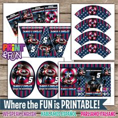 Super Party Kit! Captain America Personalized party Birthday printables on Etsy, $25.51