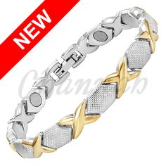 Channah 2017 Women 2-Tone Magnetic Bracelet Cool Golden Gold Silver Bangle Ladies Cross Jewellery Gift Free Shipping Charm