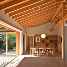 overall lovely... ceiling... indoor outdoor transition... beam treatment... window/door framing. all nice.