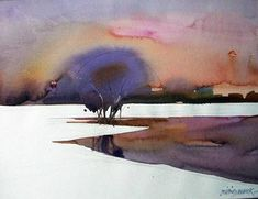 """Opposite or complimentary."" by Milind Mulick Kids Watercolor, Watercolor Sketchbook, Watercolor Landscape, Abstract Watercolor, Abstract Landscape, Landscape Paintings, Watercolor Paintings, Watercolours, Tree Drawings Pencil"
