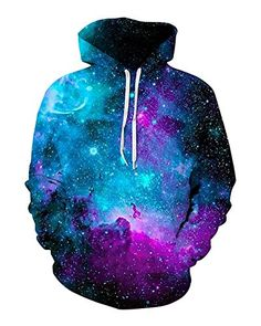 Unisex Realistic 3D Print Galaxy Pullover Hooded Sweatshirt Hoodies with Big Pockets >NEW GALXY HOODIES: VIVID COLOR 360-Degree Back and front print! Realistic 3d Digital Printing can make you more different in the crow. Suit for school wear, fashionable and compelling! Tree print pullover hoodies, galaxy sweatshirts, All of them are new arrive in this summer. >SOFT AND COOL AND LIGHT WEIGHT: 88% Polyester 12% cotton. NON-COTTON100% & Without Velvet! Breathable! Feels great against y...