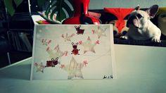 French bulldog card, handmade, winter motive, fingerprint art/ french bulldogs walking stars by BoubouleArt on Etsy