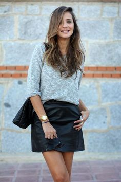 Leather and sweaters. Smart Casual work wear.