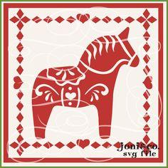 Dala Horse Glass Block SVG File, Scandinavian Horse, Dala, Swedish Folk Art, Christmas Glass Block, SVG cut file