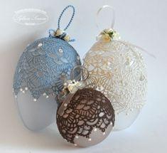 lace christmas balls