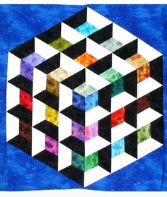 "Stolen quilts (Texas) alert: Karen Combs' beautiful ""Patchwork Illusions Rainbow Cube"" and others See her post for details. Tumbling Blocks Quilt, Big Block Quilts, 3d Quilts, Patchwork Quilting, Barn Quilts, Quilt Blocks, Geometric Quilt, Hexagon Quilt, Quilting Projects"