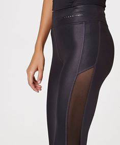 Cropped leggings with side mesh detail - OYSHO
