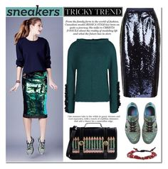 """Tricky Trend: Pencil Skirts and Sneakers"" by mada-malureanu ❤ liked on Polyvore featuring Whistles, Baku, NIKE, Marni, Tai and Olympia Le-Tan"