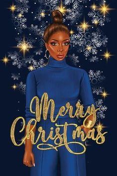 Cute Christmas Quotes, Christmas Art, Christmas And New Year, Christmas Ornaments, Black Girl Art, Black Girl Magic, Art Girl, Black Art Pictures, Magic Art