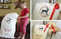 Personalized santa sacks for the kids to open on Christmas Day! I love this idea!