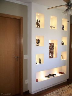 drywall wrap niche in stair walls Flur Design, Loft Design, Deco Design, House Design, Niche Design, Tv Wall Design, Ceiling Design, Living Room Partition Design, Room Partition Designs