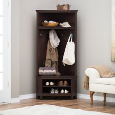 Home improvements Belham Living Richland Corner Hall Tree - Espresso (hall trees from hayneedle) The Entryway Hall Tree Bench, Shoe Storage Bench Entryway, Storage Bench Seating, Narrow Entryway, Corner Hall Tree, Hall Trees, Home Renovation, Hall Tree With Storage, Light Wood Kitchens