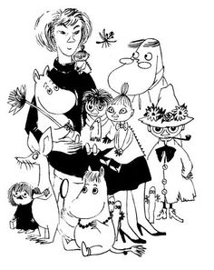 Tove Jansson ja muumit >>> Author/artist Tove Jansson and some of her best known her Moomin creations.