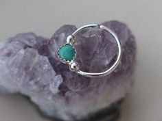 Septum ring || turquoise and sterling silver