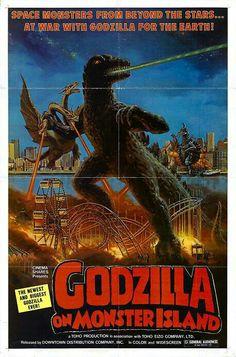 Cinema Shares theatrical poster for the 1977 U.S. release ofGodzilla on Monster Island. Horror Movie Posters, Horror Movie Trailers, Cinema Posters, Horror Movies, Horror Film, Horror Art, Godzilla Vs Gigan, Cartoon Meme, Japanese Monster