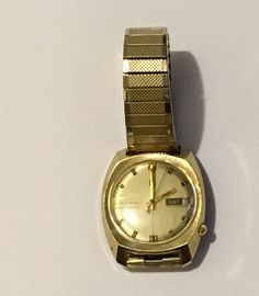 Accutron Bulova Day Date 10k Rolled Gold Plate Back Speidel Band N4 Watch As Is #BulovaAccutron