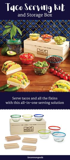 Serve tacos and all the fixins with this convenient kit, all contained in a handsome wood box.